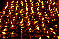 Candles in the dark  Shree Boudhanath temple. Nepal Stock Photography