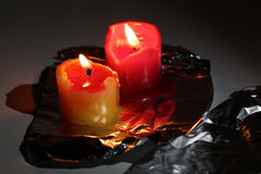 Candles  are in darkness Stock Photo