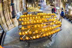 Candles for the deceased in the Strasbourg Cathedral Stock Photography