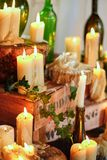Candles decoration wedding dinner. composition with thick candles on the floor royalty free stock photo