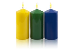 Candles. Decorative isolated on a white background royalty free stock photo