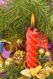 Candles and different Christmas decorations Royalty Free Stock Images
