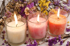 Candles and dried flowers Royalty Free Stock Photos