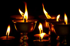 Candles of Drubgon Jangchup Choeling Tibetan Temple, Kathmandu, Stock Photo