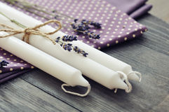 Candles with dry lavender Stock Images