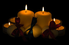 Candles and eggs, a celebratory composition Royalty Free Stock Photography