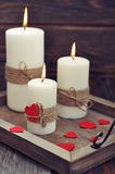 Candles with fabric hearts Royalty Free Stock Photography