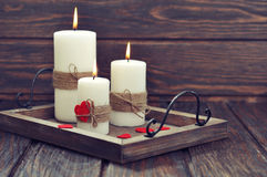 Candles with fabric hearts Stock Photo