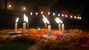 Candles on festive decoration stock footage