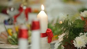 Candles On A Festive Table stock video