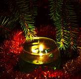 Candles and fir branches Royalty Free Stock Photo