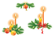 Candles and fir branches Royalty Free Stock Images