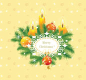 Candles and fir branches Stock Photo