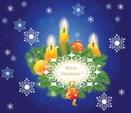 Candles and fir branches Stock Image