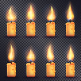 Candles. Fire Animation on Transparent Background. Collection of icons with candles. Fire animation on transparent background. Flame animated effect illustration Royalty Free Stock Image