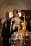 Candles fire on ceremony of Epiphany Royalty Free Stock Images