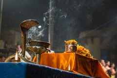 Candles fire puja Royalty Free Stock Images