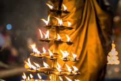 Candles fire puja. Candles used in performance of religious Ganga Aarti ritual fire puja at Dashashwamedh Ghat in Varanasi, Uttar Pradesh, India Royalty Free Stock Photos