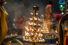 Candles fire puja. Candles used in performance of religious Ganga Aarti ritual fire puja at Dashashwamedh Ghat in Varanasi, Uttar Pradesh, India Stock Images