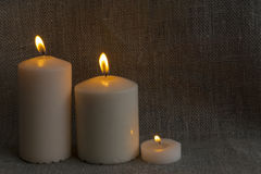 3 candles, fire, shadow Royalty Free Stock Photography