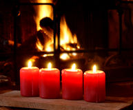 Candles and fireplace Royalty Free Stock Images