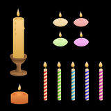 Candles flame red green pink yellow blue violet isolated set illustration Stock Photos