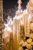 Candles in a float, Holy Week Stock Photo