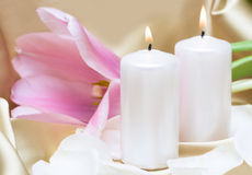 Candles with flower Stock Images