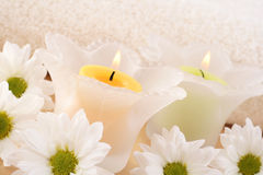 Candles and flowers Royalty Free Stock Images