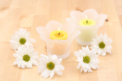 Candles and flowers Stock Image