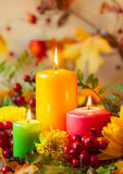 Candles and flowers Stock Photography