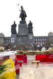 Candles+flowers in front of the statue ofWenceslas Stock Photos
