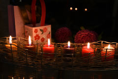 Candles Flowers and Gifts royalty free stock photography
