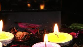 Candles Flowers and Leaves on the Water. Video stock video
