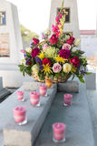 Candles and Flowers over Grave in The Annual Blessing of Graves at Ratchaburi Province, Thailand Stock Image
