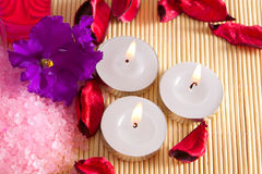 Candles and flowers for spa Royalty Free Stock Images