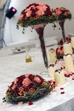 Candles and flowers on table. At wedding reception Royalty Free Stock Photography