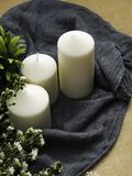 candles and flowers on table royalty free stock image