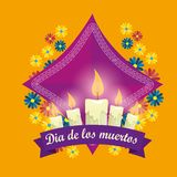 Candles with flowers to day of the dead event. Vector illustration royalty free illustration