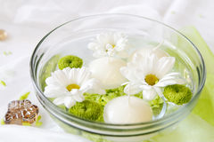 Candles and flowers in water Stock Photography