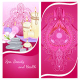 Candles flyer. Vector illustration of a vertical banner template with candles of various shapes and accessories for spa. Design for a spa, massage and beauty Royalty Free Stock Image
