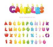 Candles font. Festive cartoon letters and numbers for birthday or other design. Vector Royalty Free Stock Photos