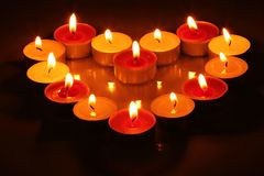 Candles in form of heart Royalty Free Stock Image