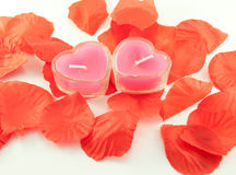 Candles in the form of hearts and tape Royalty Free Stock Photo