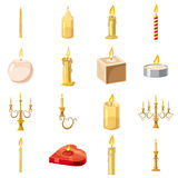 Candles forms icons set, cartoon style Royalty Free Stock Images