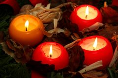 Candles. Four beautiful candles for Christmas Royalty Free Stock Photos