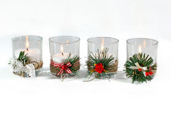 Candles. Four candles isolated on white background Stock Photography