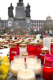 Candles in front of the statue of Wenceslas Royalty Free Stock Photography