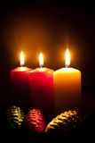 Candles and fur-tree toys Royalty Free Stock Photo