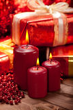 Candles and gift Royalty Free Stock Image